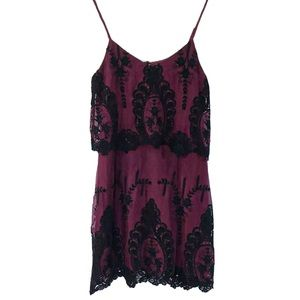 Dolce Vita Maroon Black Embroidered Lace Dress